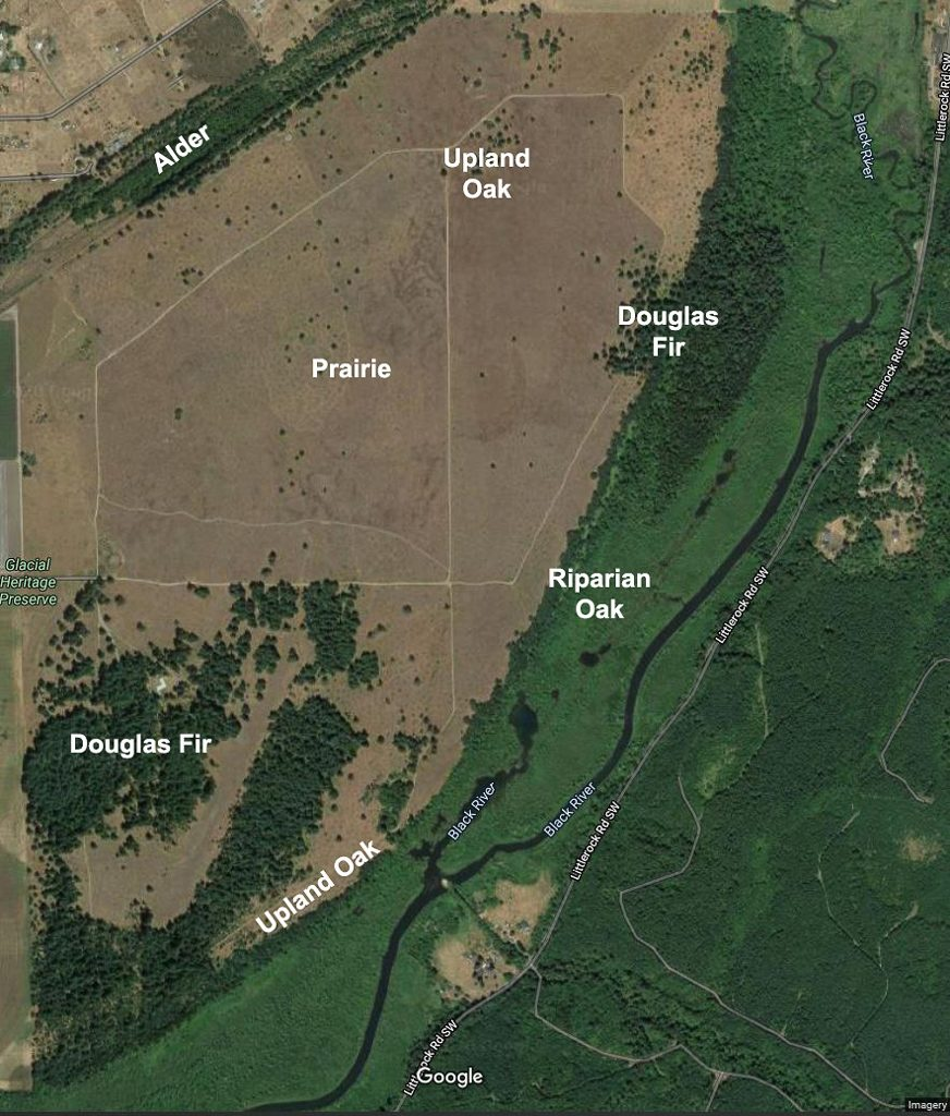 Satellite view of the Glacial Heritage Preserve from Google Maps