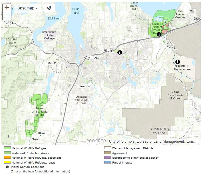 Map of Billy Frank Jr. Nisqually National wildlife Refuge from their website.
