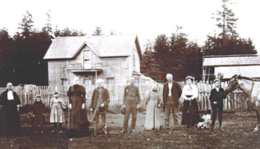Photo of three generations of Bush family on their Bush Prairie Farm, date unknown.  From Historylink.org.