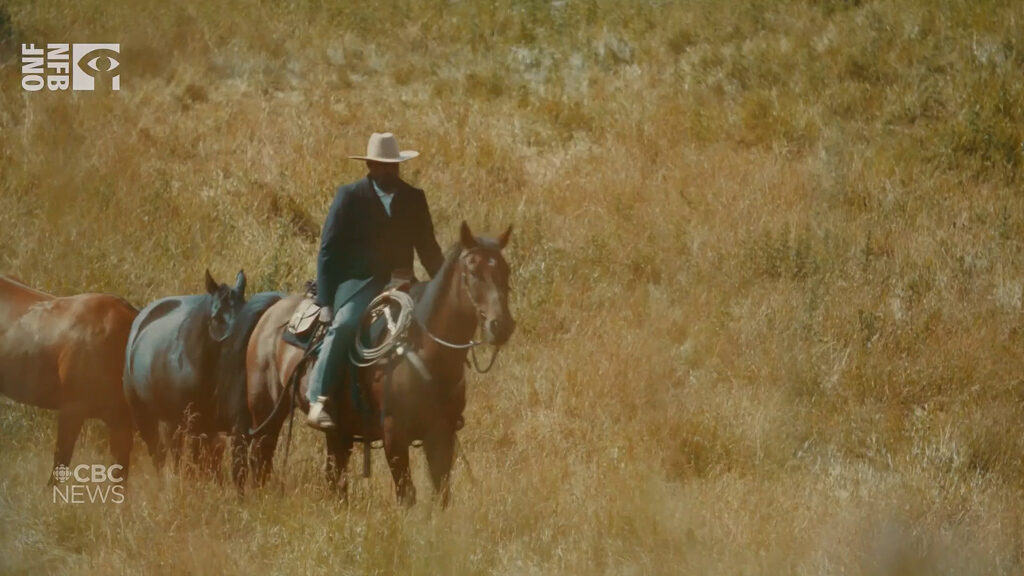 Snapshot from documentary with actor depicting John Ware, late 19th century immigrant and rancher.  From John Ware: Reclaimed.