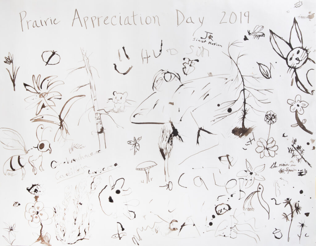 Poster created with oak gall ink by participants to Prairie Appreciation Day 2019.  Photo by Dennis Plank